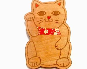 Lucky Cat - Japanese, Tasmanian Myrtle, Kawaii Brooch