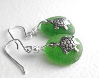 Green Sea Turtle Earrings, Real Sea Glass Jewelry, Hawaii Honu