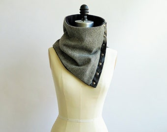 Cowl, scarf cream and charcoal herringbone wool
