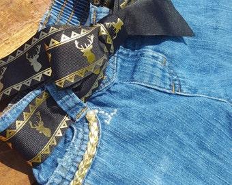 Distressed Deer Jeans Kids Denim Baby Jeans Pearl Rhinestone Animal Print Gold