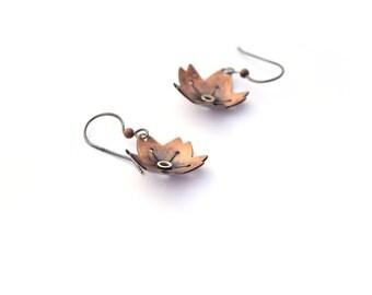 Cherry Blossom Earrings, Mixed Metal Earrings, Copper Flower Earrings with Sterling Silver Rivets, Botanical Earrings, Bohemian Jewelry