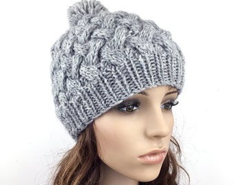 Hand Knit Hat  woman hat winter hat wool Beanie Hat Pom pom hat Grey hat
