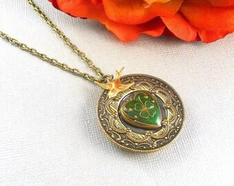 Heart Irish Locket, Antique Gold, Gold Irish Locket, Love Locket, Three Cloves, Brides Bridesmaids, Weddings,  Holiday Gift