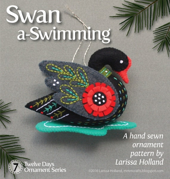 Swan a-Swimming PDF pattern for a hand sewn wool felt ornament