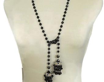 Vintage Black Glass Chandelier Crystal Beads Tassel Dangle Necklace or Belt