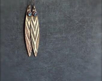 Labradorite Feather Earrings - 4mm Gemstone, Etched Gold Brass, Oxidized Patina, Boho Jewelry