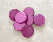 Purple Vintage Buttons 23mm - 7/8 inch Violet Waffle Shimmer Luminescent Plastic Buttons - 7 VTG NOS Purple Retro Mod Shank Buttons PL056 bb