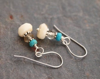 Turquoise, Smoky Quartz and White Coral Earrings
