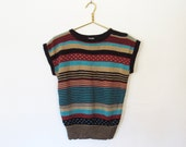 SWEATER SALE Vintage 1970s Boho / Cap Sleeve Striped Pullover Sweater / Shoulder Buttons