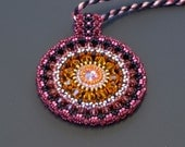 Color Medallion Beaded Pendant in Pink Grapefruit with Swarovski Crystal
