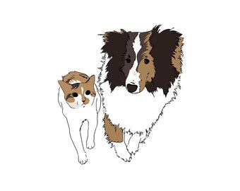 personalized valentine gift custom pet drawing PRINTABLE PDF 2 pets unique dog art customized cat art dog illustration one of a kind art