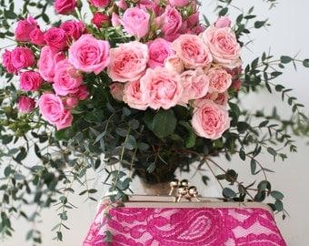 Fuchsia Alencon Paisley Lace Clutch | Bridesmaid Clutch | Fuchsia Wedding