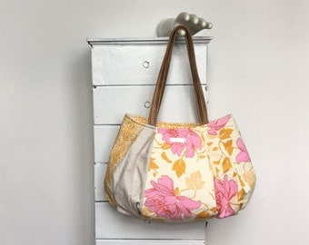Large Hobo PINK LEMONADE = pretty pink peony floral golden yellow cream Amy Butler Kate Spain fabric zipper vegan leather  jennjohn handbag