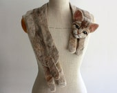 Cat - felted wool animal scarf