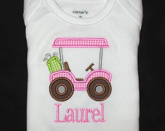 Custom Personalized Applique Gingham GOLF CART and NAME Bodysuit or Shirt - Pink, Lime Green, and Brown
