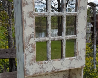 Shabby Chic Cabinet Antique White Reclaimed wood cabinet Primitive Cabinet Farmhouse Cupboard Bathroom Wood storage Cabinet Country Shelf