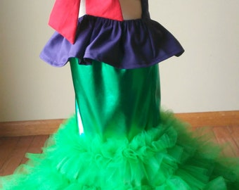 Little Mermaid Costume, Princess Mermaid Tail Skirt,  Girls Halloween Mermaid Outfit, Baby Dress Up Birthday Outfit, Pageant Outfit