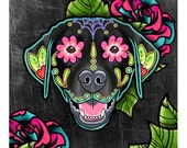 "Labrador Retriever in Black - Day of the Dead Sugar Skull Dog 8"" x 10"" Art Print"