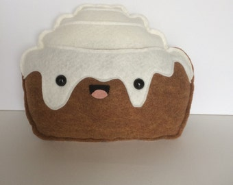 Cinnamon Bun Felt Plush - Cinnamon Roll - Sweets - Icing - Breakfast - Plushie