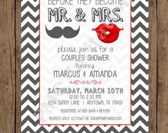 Gray and Red - Mr and Mrs - Couples Shower Invitations - 1.00 each with envelope