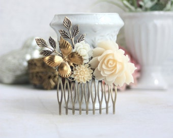 Butterfly Flower Comb, Wedding Comb, Ivory Hair Comb Floral Rustic Ivory Hair Clip. Wedding Hair, Vintage Inspired. Bridesmaid Gift, Nature