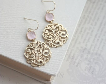 Gold Paisley Filigree Chandelier with Blush Ice Pink Drops Earrings, Bridesmaid Gift, Blush Pink and Gold. Pink Gold Boho Wedding. Wife, Sis