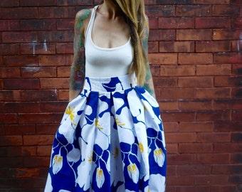 Vintage Pleated Midi Skirt|Full Skirt|Party Skirt|Plus Size Skirt|Floral Print Skirt|Maternity Skirt|Skirt with Pockets|High Waisted Skirt