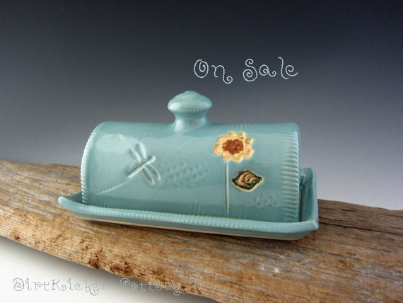 Covered Butter Dish in Vintage Turquoise with Sunflower - Pottery Butter Dish - by DirtKicker Pottery