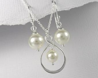 Infinity Jewelry Set, Infinity Necklace Set, Bridesmaid Necklace, Wedding Necklace, Bridesmaid Jewelry, Bridesmaid Gift, Infinity Necklace