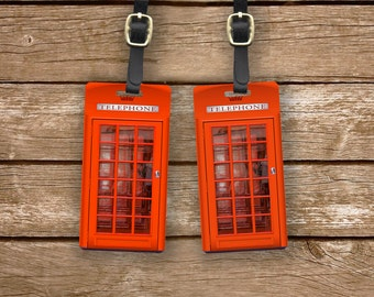 Luggage Tags British Red Phone Booth Set, Printed Personalized Metal Tags, 2 Tags Custom information on Backs Choice of Straps