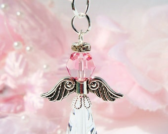Crystal Guardian Angel Charm Swarovski Light Pink Crystal Angel
