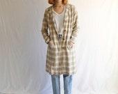 vintage linen overcoat jacket 70s neutral small