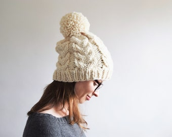 Cable Knit Hat Pattern // Cabled Hat Pattern // Cable Hat Pattern // Cable Pom Pom Hat Pattern // Hat Knitting Pattern