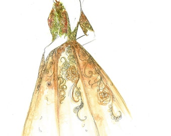 The Garden Gown, print from original watercolor and pen fashion illustration by Jessica Durrant