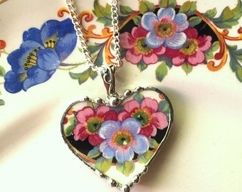 Broken china jewelry heart pendant necklace antique blue and pink blossoms, recycled china
