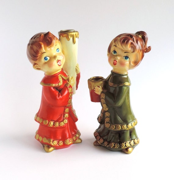 Singing Carolers Candleholders Figurines Vintage By