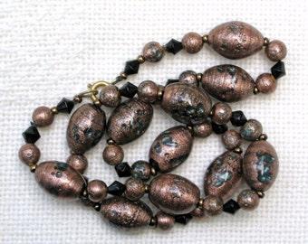 Art Deco Necklace Vintage Jewelry Venetian Aventurine Beads