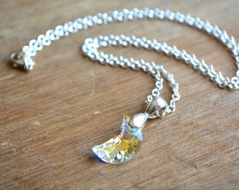 Sterling Silver Clear Moon Necklace Swarovski Crystal Celestial Wiccan Jewelry Clear AB Crystal Moon