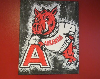 Officially Licensed Vintage Arkansas Razorback Painting- FREE SHIPPING!