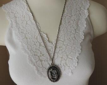 Jet Black Hematite Intaglio Cameo Pendant. Victorian Style Silver Necklace. Continuous Silver Chain