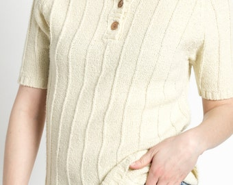 Vintage 70s Cream Striped Knit Short Sleeve Sweater with Henley Buttons | M