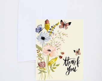 Thank You - Watercolor Botanicals + Butterflies - Painted Greeting Cards - A-2