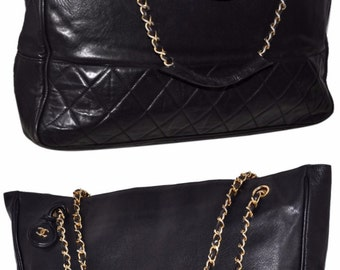 "CHANEL Paris Jumbo Size Quilted Lambskin Leather 14.25"" Inch Handbag With Gold Chain Black Tote Bag"