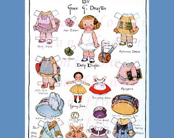 Digital Download Vintage 1st 1913 Introducing Dolly Dingle Paper Doll Collage Sheet Supplies Clip Art  Scrapbooking Altered Art Journal