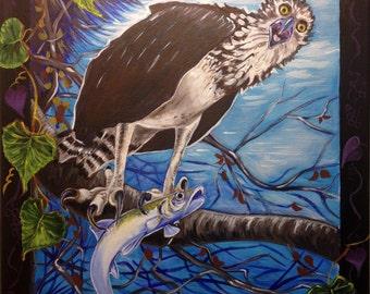 Osprey (acrylic painting, ladyfish, gulf of mexico, north florida, gulf coast, coastal, fierce creatures, southern wild, predator, prey)