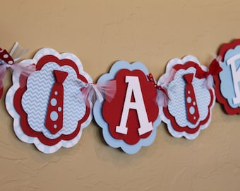 Little Man Bow Tie Chevron Stripe Polka Dot NAME or ITS A BOY Baby Blue Red Baby Shower Birthday Party Decoration