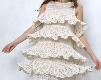 Retro Cotton dress, Lace wedding dress, 20's style dress, organic cotton dress, Cottage chic dress, Bohemian chic dress, Designer lace dress
