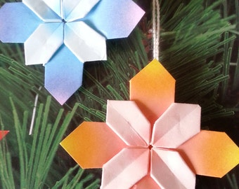 Assorted Origami Hydrangea - Christmas Ornaments- set of 5 , 10 or 12, paper flowers, wedding decor, gift