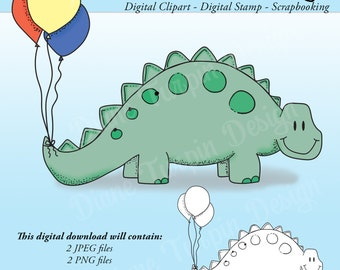 Dinosaur with Balloons Digital Clip Art - Birthday Digital Stamp - Scrapbooking Clipart