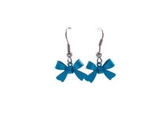 Blue Bow Earrings, Surgical Steel Ear Wires, for Sensitive Ears, Small Dangle Earrings, Cute Earrings, Earrings for Teens, Tween Girl Gifts